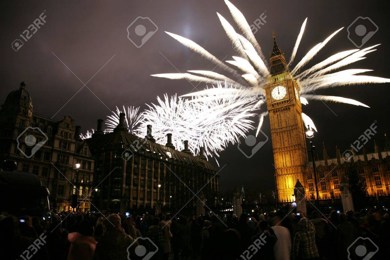 2012, Fireworks over Big Ben at midnight Stock Photo - 11848041