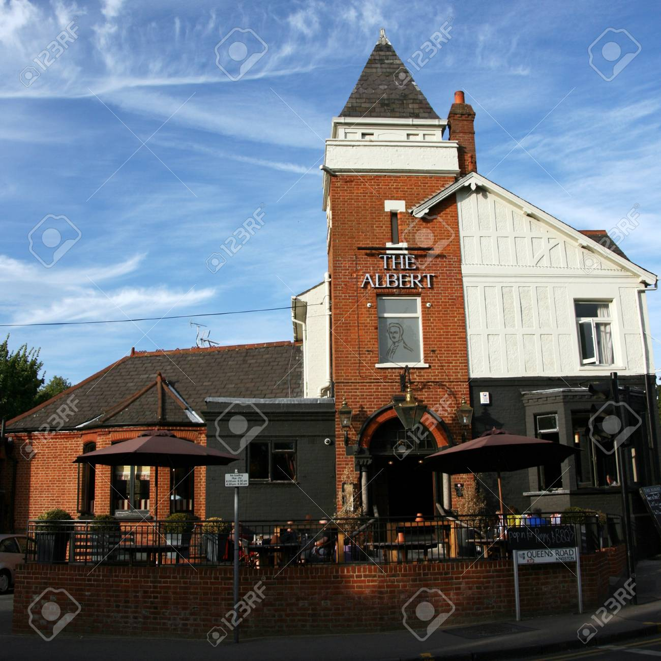 London, UK - July 19, 2010: Outside view of a public house, known as pub, for drinking and socializing, is the focal point of the community, Pub business, now about 53,500 pubs in the UK, has been declining every year.    Stock Photo - 12513226