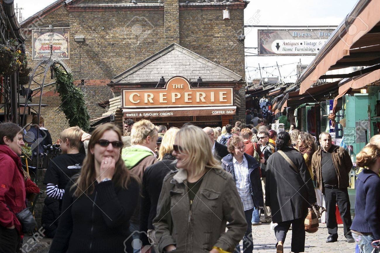 London, UK - April 17, 2006: The view of Camden Market, in Camden Town, also called Camden Lock. The Market is one of the most popular attraction in London attracting about 100,000 visitors each weekend.    Stock Photo - 14311994