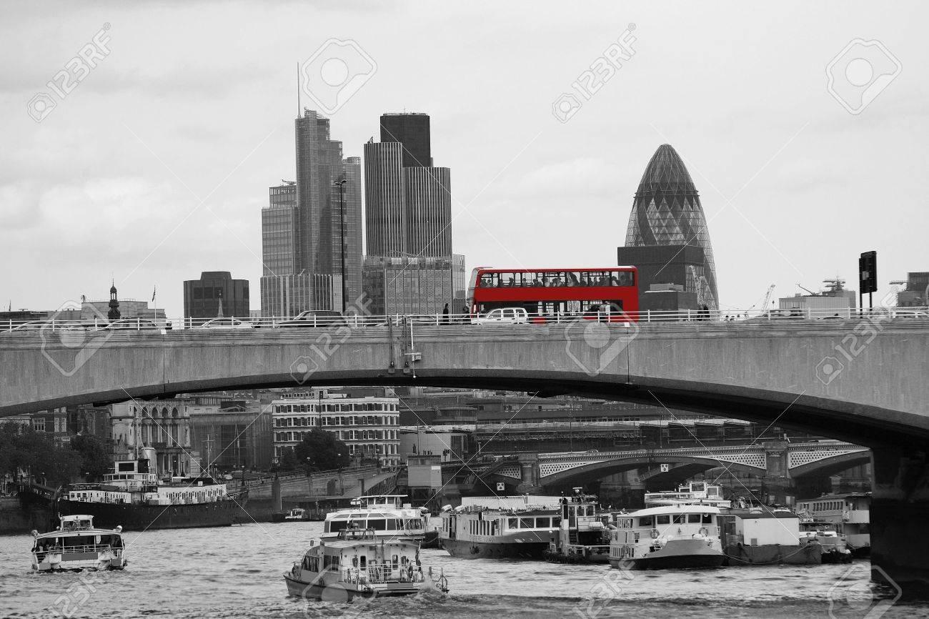 London skyline, include Waterloo Bridge, Red Double Decker Bus, seen from Victoria Embankment Stock Photo - 15450989