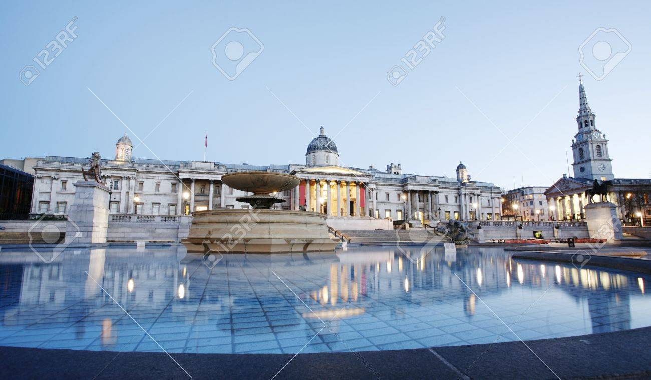 National Gallery and Trafalgar Square in the early morning Stock Photo - 16376902