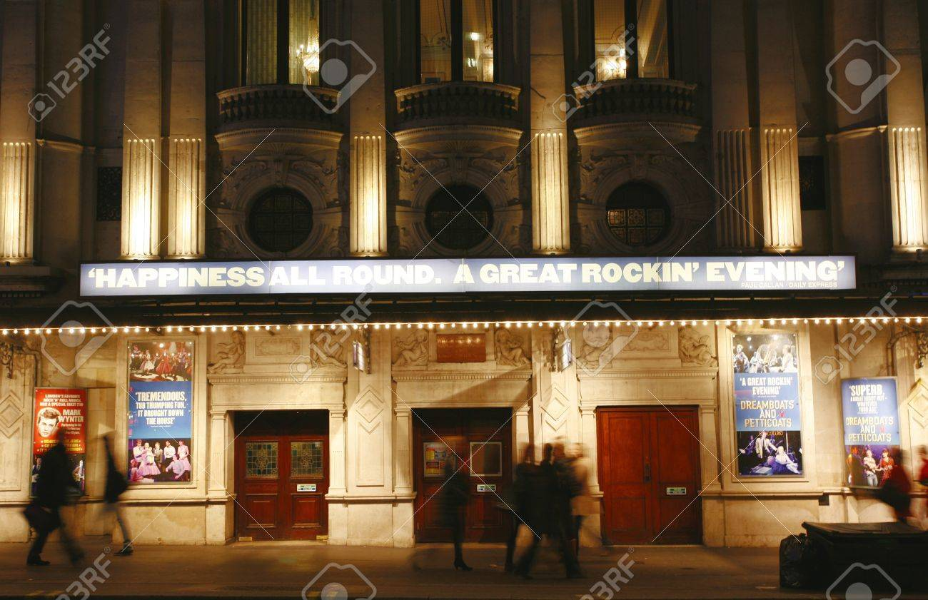 London , UK - December 11, 2012: Outside view of Wyndham's Theatre, West End theatre, located on Charing Cross Road, City of Westminster, since 1899, designed by W.G.R. Sprague, at Night.   Stock Photo - 18979166