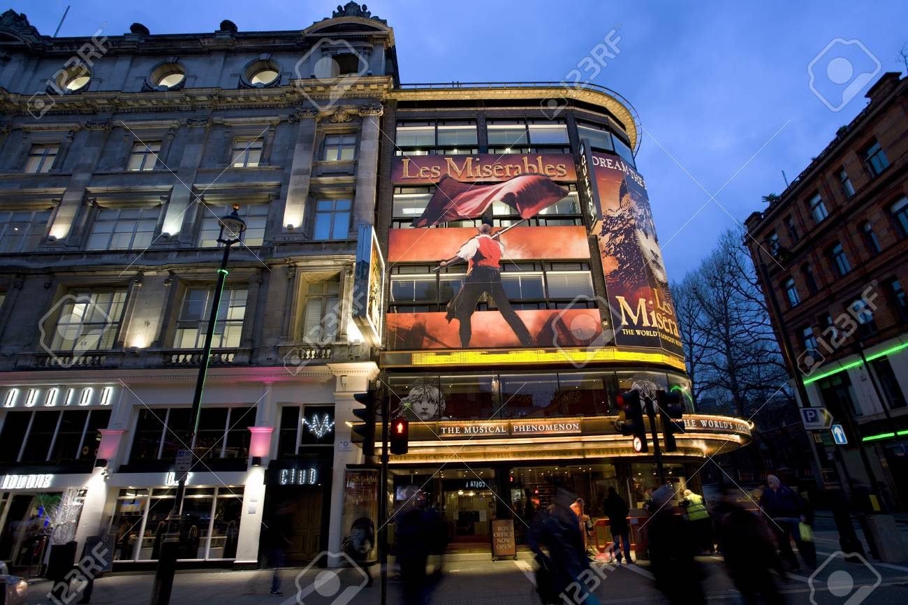 London , UK - December 10, 2012: Outside view of Queen's Theatre, West End theatre, located on Shaftesbury Avenue, City of Westminster, since 1907, designed by W.G.R. Sprague, at Night.   Stock Photo - 18979212