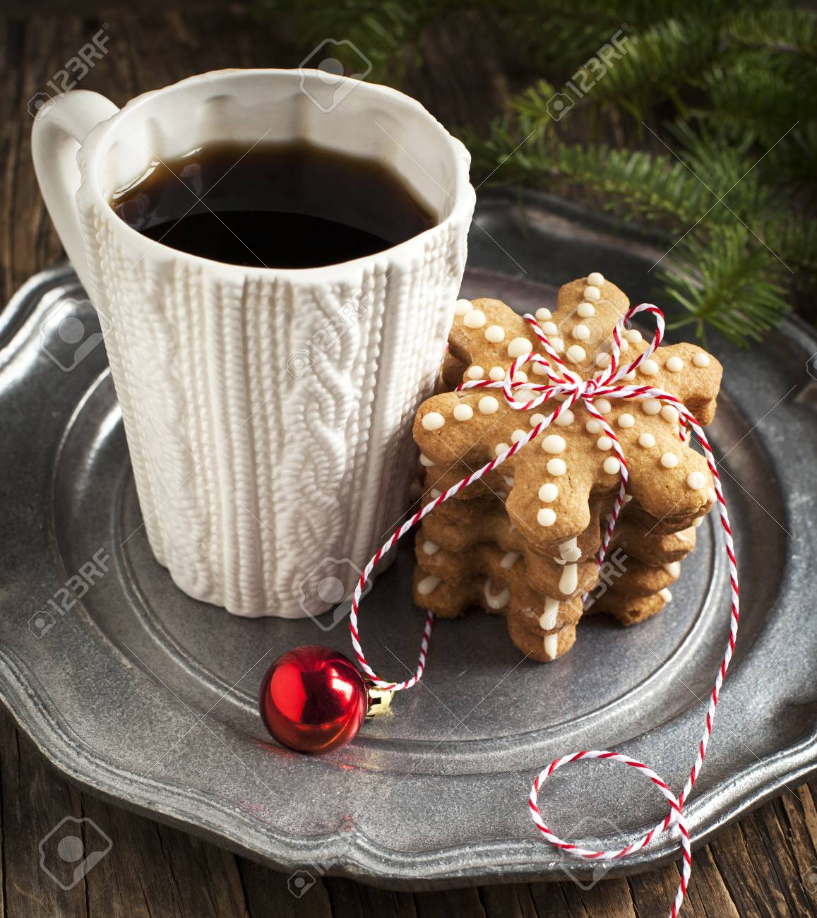 Christmas Cookies And Cup Of Coffee Stock Photo Picture And Royalty Free Image Image 34543955