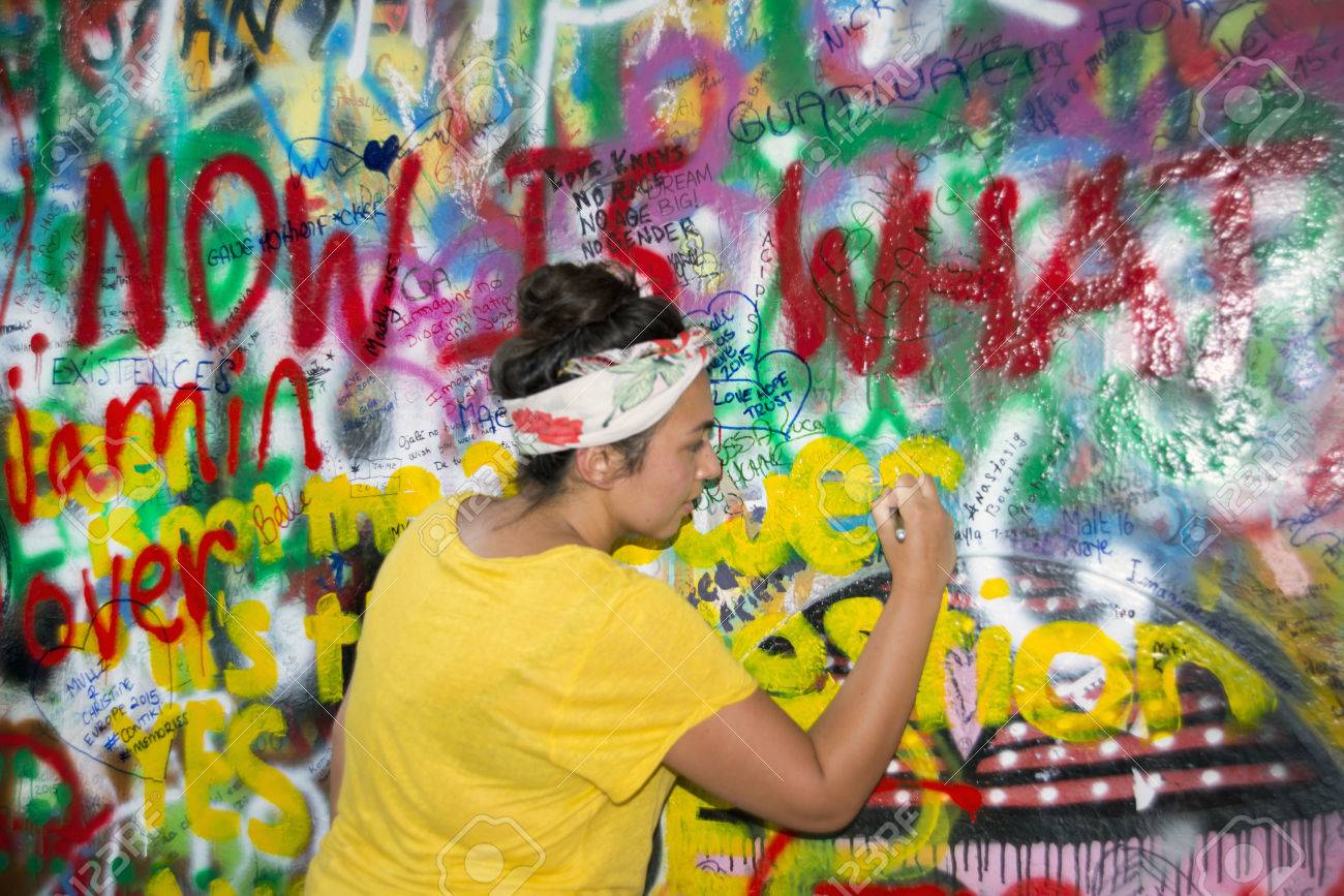 Prague czech republic july 22 the lennon wall since the 1980s is filled