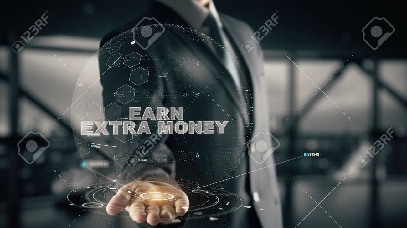Earn Extra Money with hologram businessman concept - 87894278