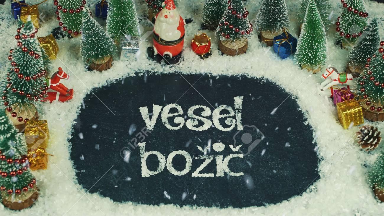 Frohe Weihnachten Slowenisch.Stock Photo