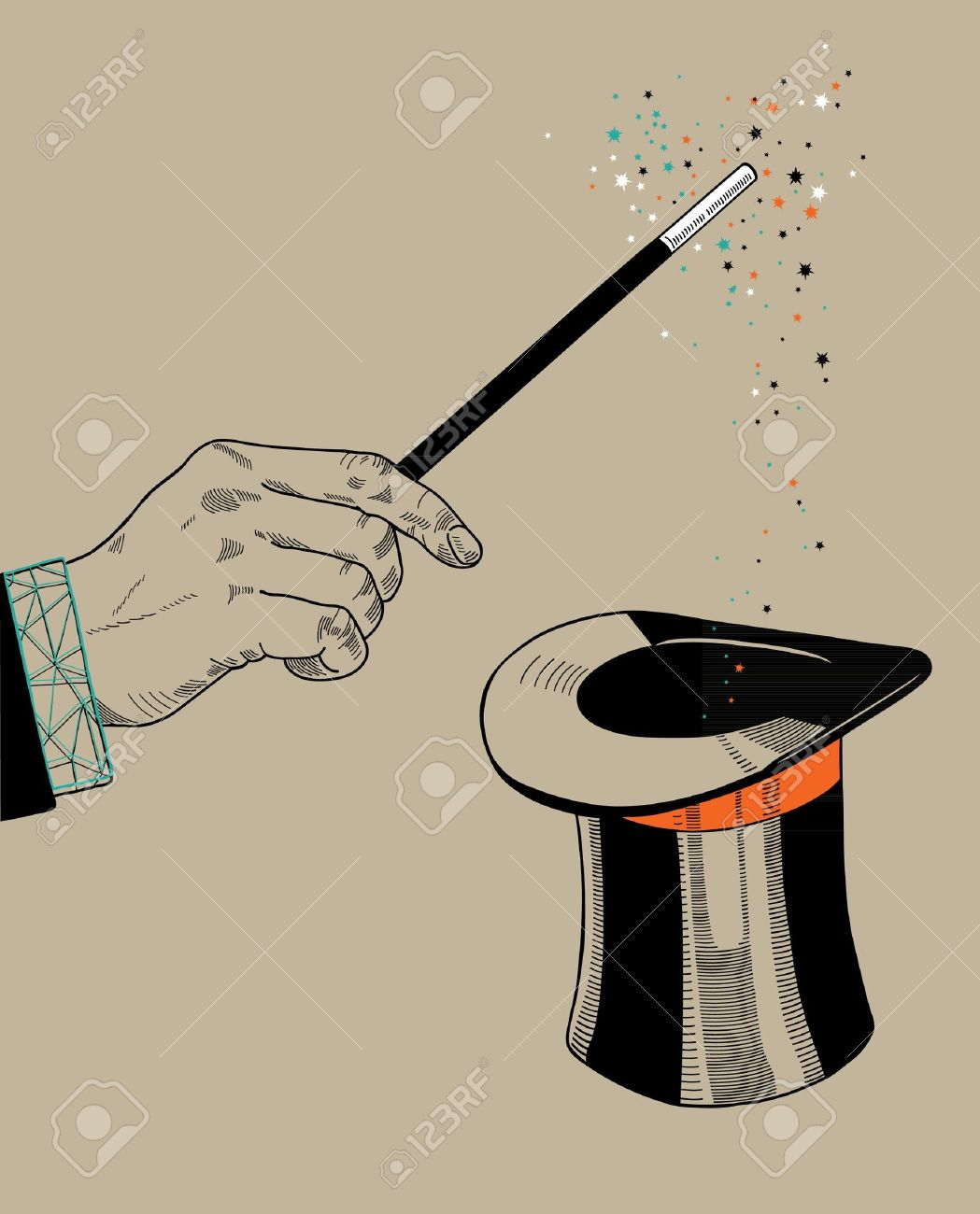 Magician hand with magic wand and hat Stock Vector - 17955556