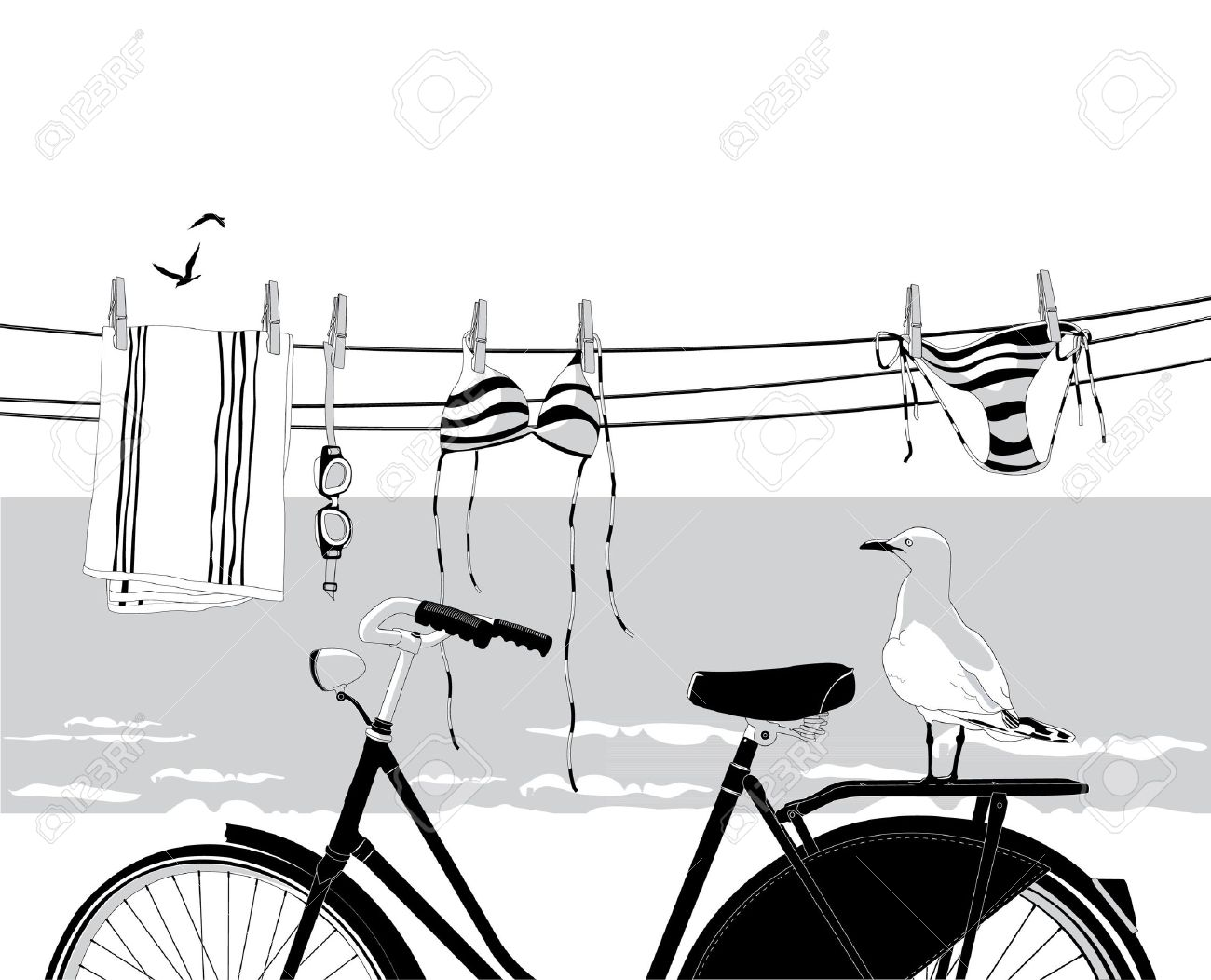 Beach in summer with bicycle, seagull and clothes hanging on clothesline Stock Vector - 17955559