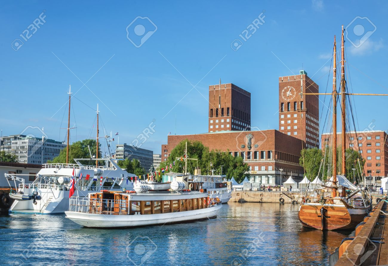 View of Oslo Radhuset town hall from the sea, Oslo, Norway Stock Photo - 39980885