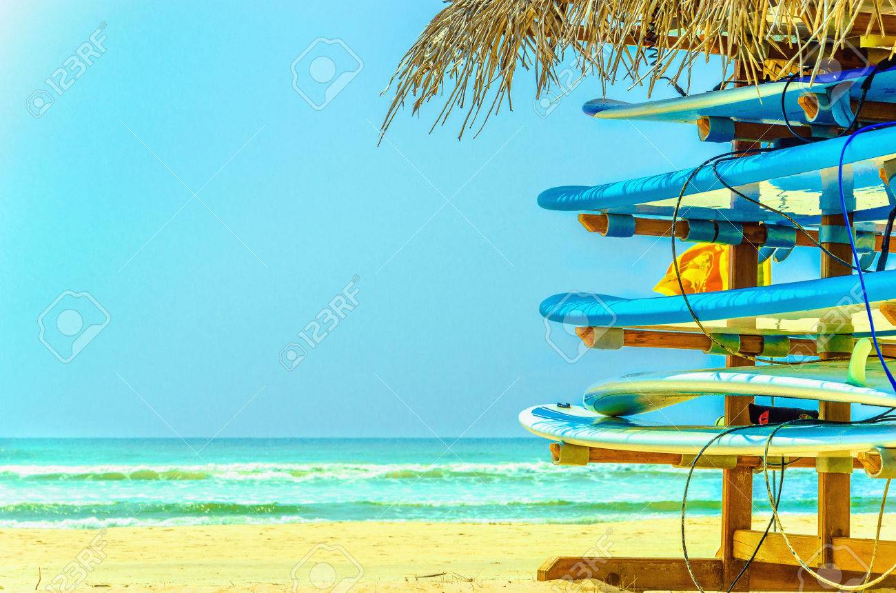 Exotic beach with colorful surfboard and azure water, Sri Lanka, southern Asia Stock Photo - 40498182
