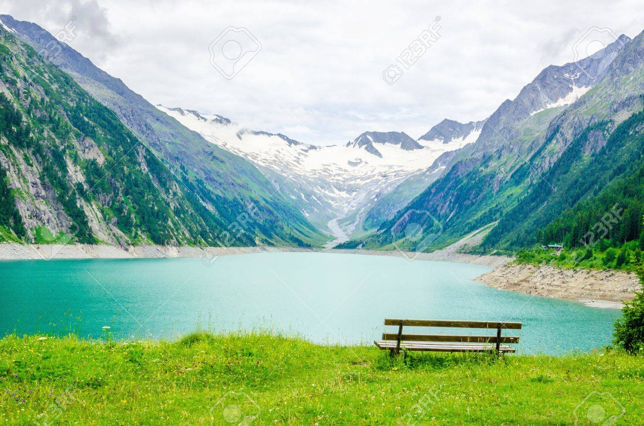 Beautiful view of the lake Schlegeis and empty desk, Zillertal Alps, Austria Stock Photo - 40514056