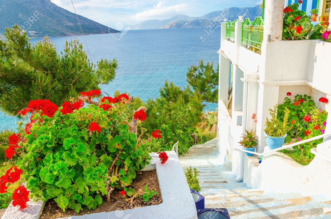 Fresh red flowers and white walls of apartment on Greek Island, Greece Stock Photo - 40513697