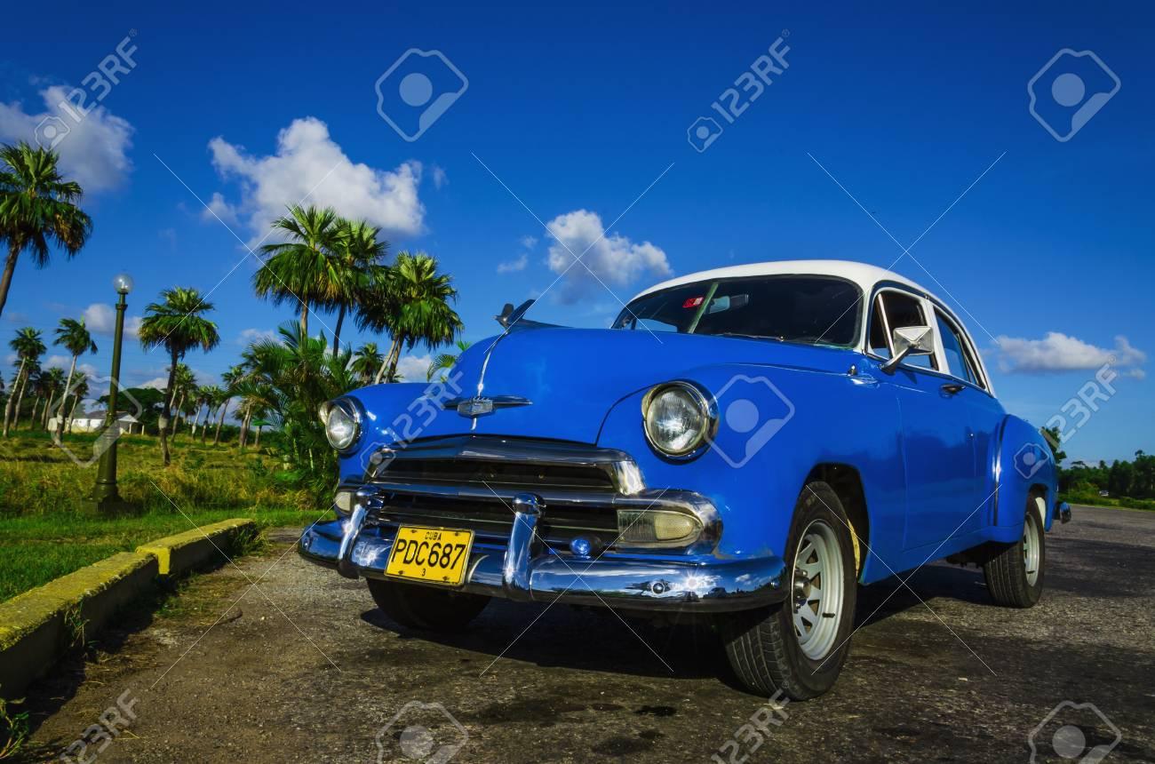 HAVANA, CUBA - DECEMBER 2, 2013: Blue Classic American Car On ...