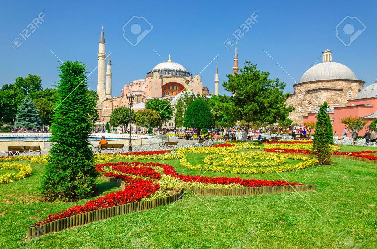 Beautiful Hagia Sophia with garden full of colorful flowers, Christian patriarchal basilica, imperial mosque and now a museum, Istanbul, Turkey Stock Photo - 43970818