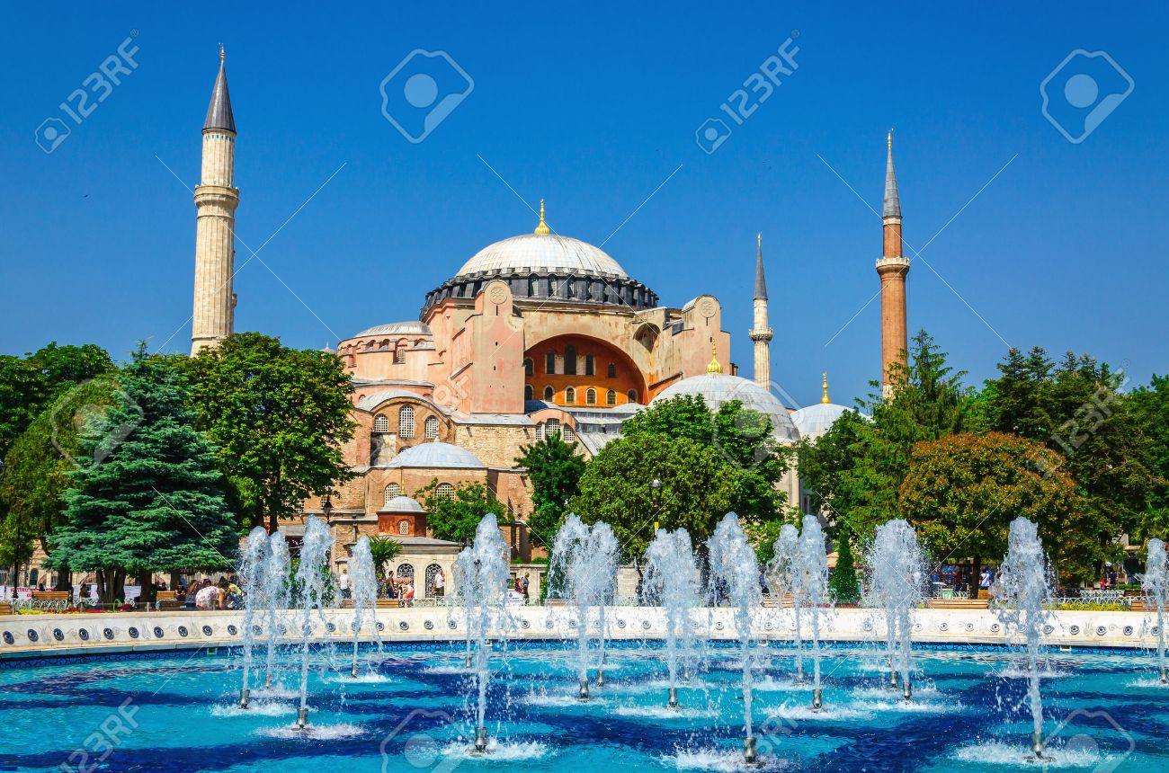 View of beautiful Hagia Sophia with a fountain, Christian patriarchal basilica, imperial mosque and now a museum, Istanbul, Turkey Stock Photo - 43970894
