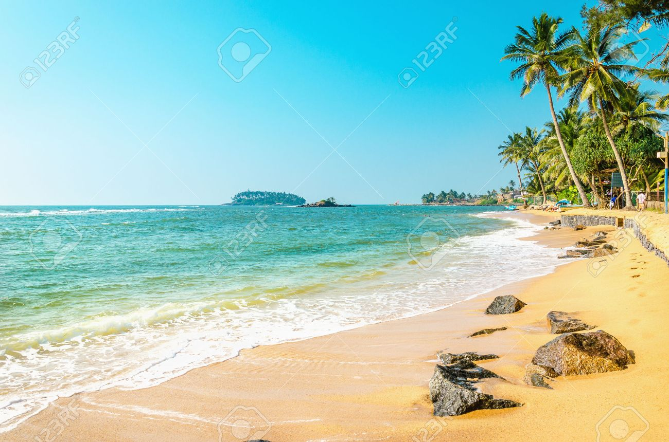 Beautiful exotic beach with golden sand and tall palm trees against the azure sea and blue sky, Caribbean Islands Stock Photo - 47462810