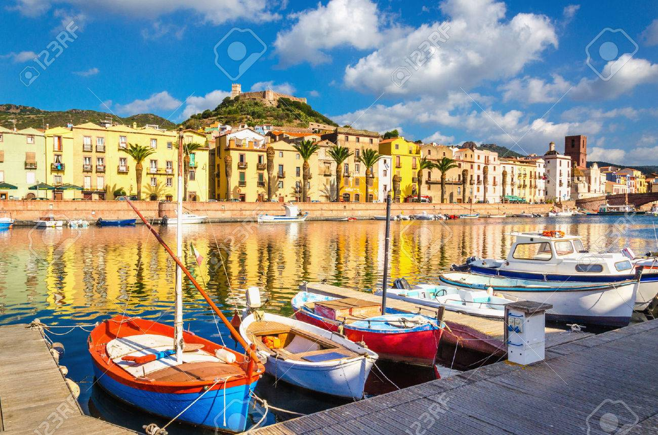 Colorful houses and boats in Bosa, Sardinia island, Italy, Europe Stock Photo - 69709067
