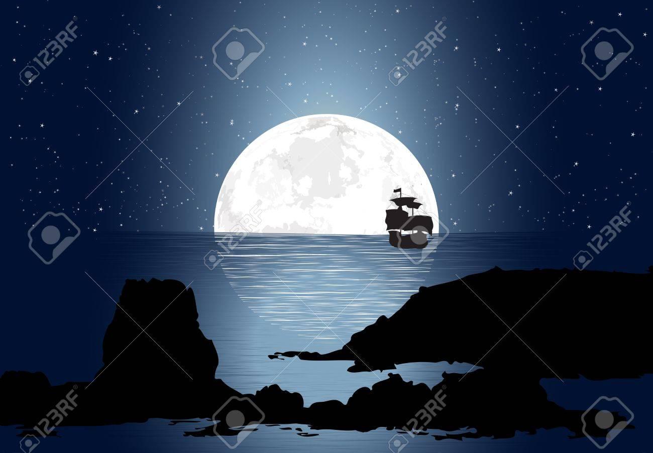 Half Moon With Sailboat Stock Vector - 16586683