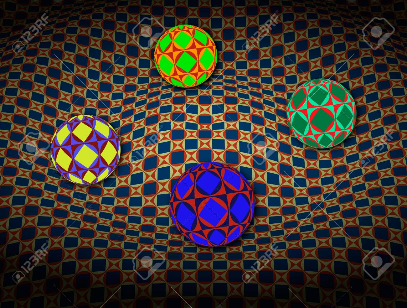 Spheres Over 3D Surface Stock Photo - 16955876