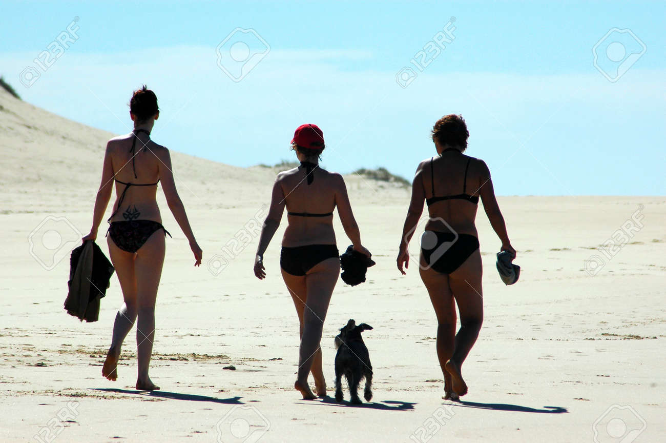 Three young sexy caucasian women walking on the beach towards the sun with their little dog in opposite light in the afternoon Stock Photo - 735974