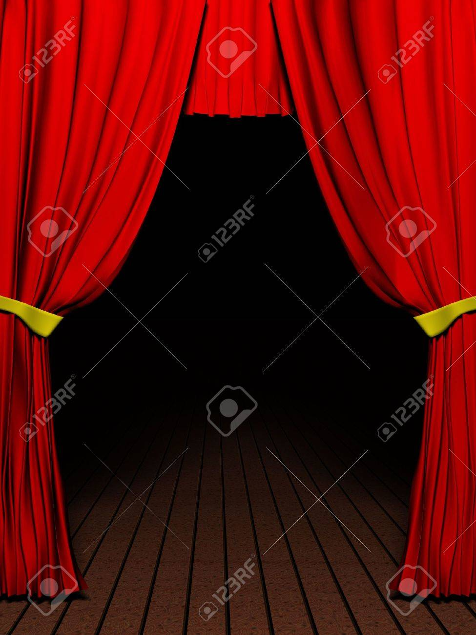 Rendering 3D red velvet theatre courtains and Wood floor Stock Photo - 3028195