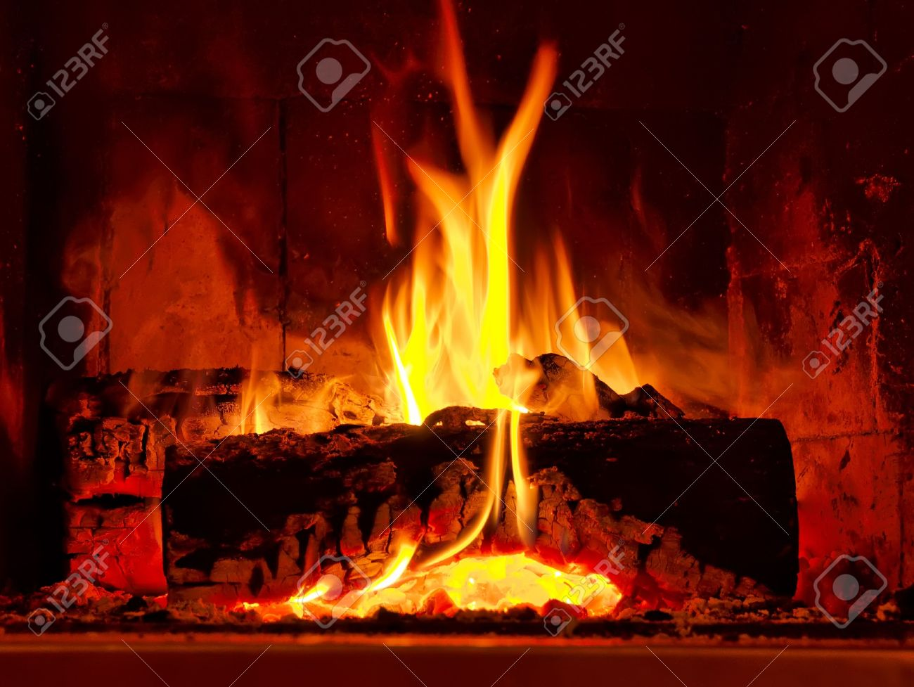 Fire Burning In Fireplace Stock Photo Picture And Royalty Free