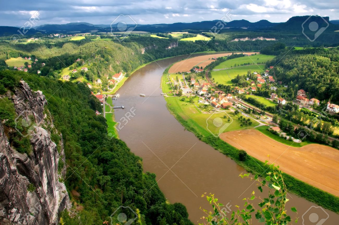 Meandering River Elbe River Germany Stock Photo Picture And - Elbe river