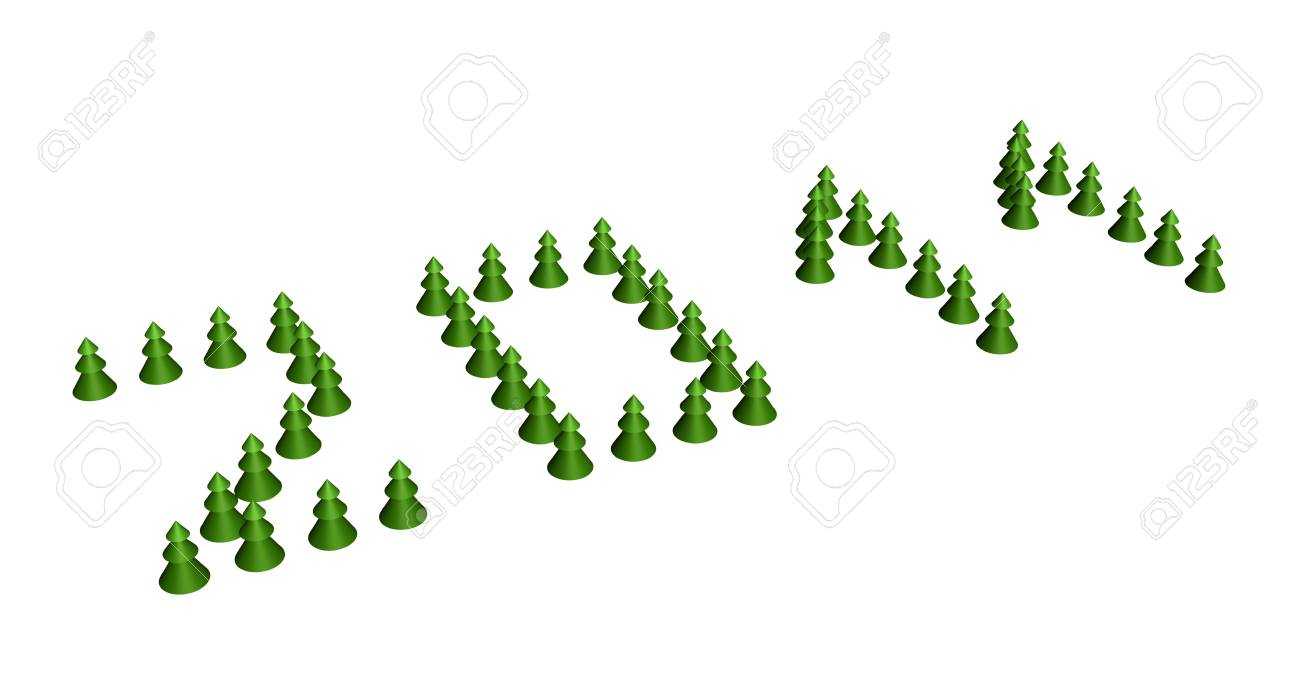 2011 text composed of fir-tree on white background Stock Photo - 7942029