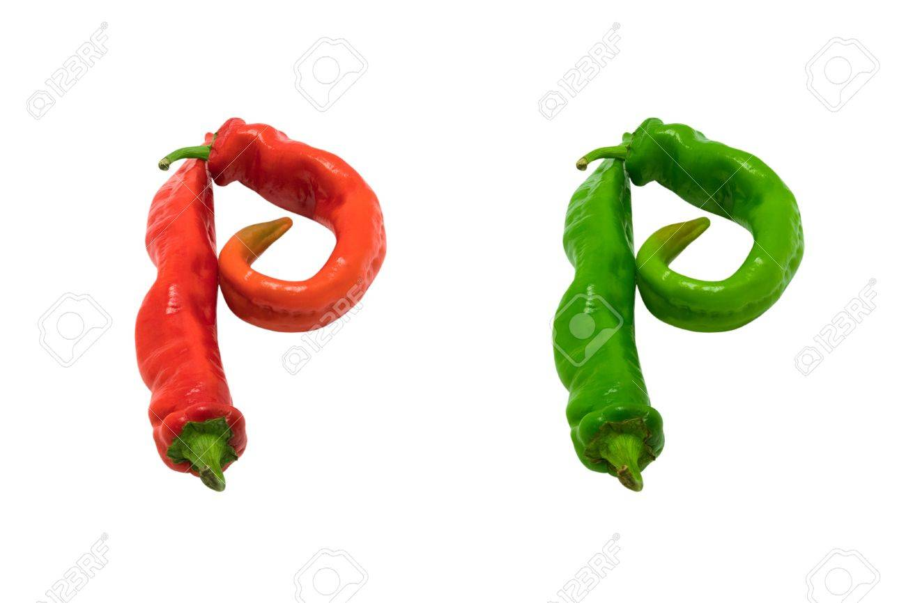 letter p composed of green and red chili peppers isolated on stock