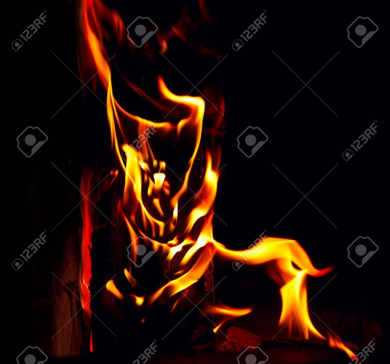 Flame on black background Stock Photo - 17504418