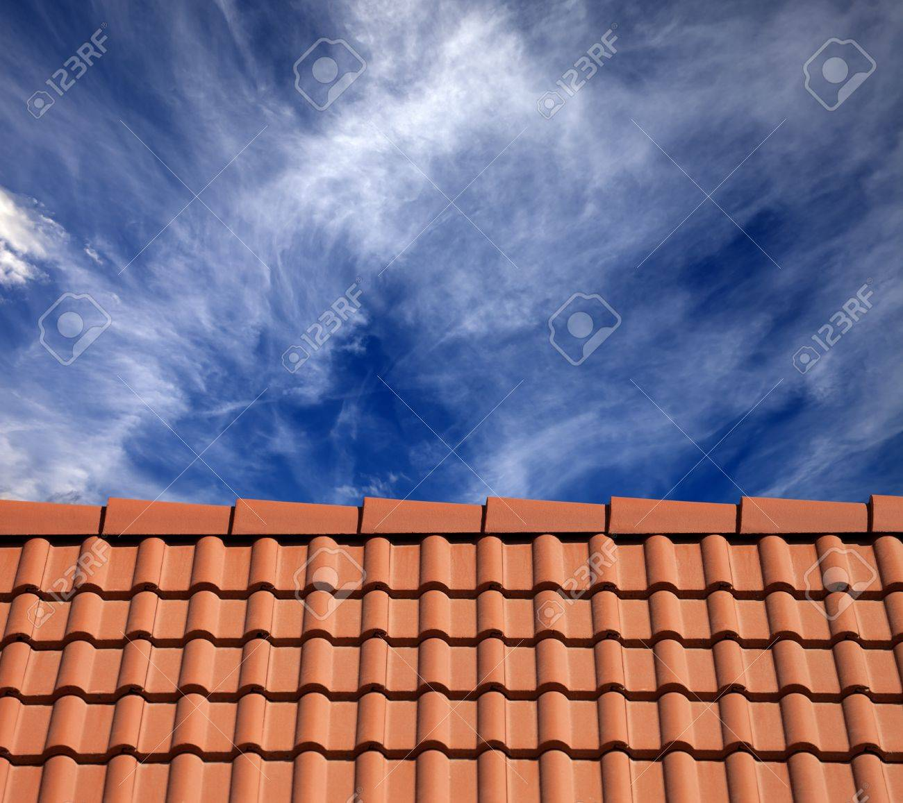Roof tiles and sky with clouds at sun day Stock Photo - 25113318