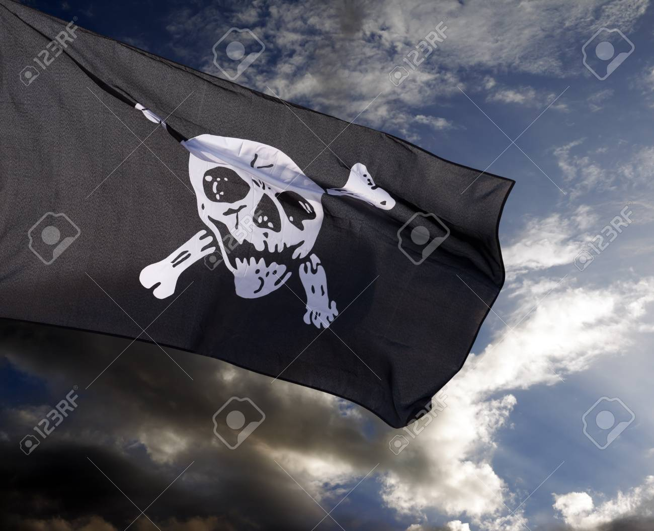 Jolly Roger (pirate flag) against storm clouds Stock Photo - 25113329