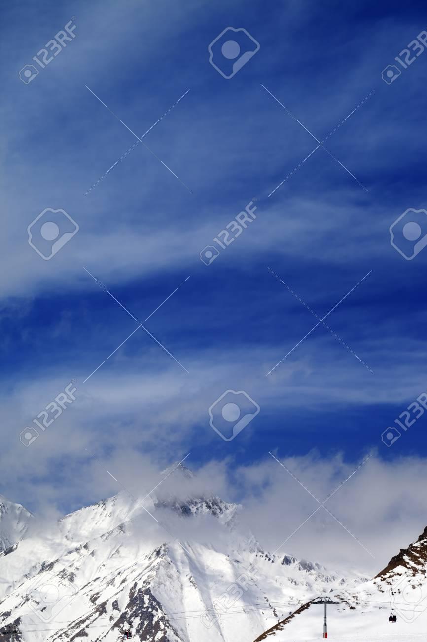 Winter Mountains And Cloudy Sky Caucasus Mountains Georgia