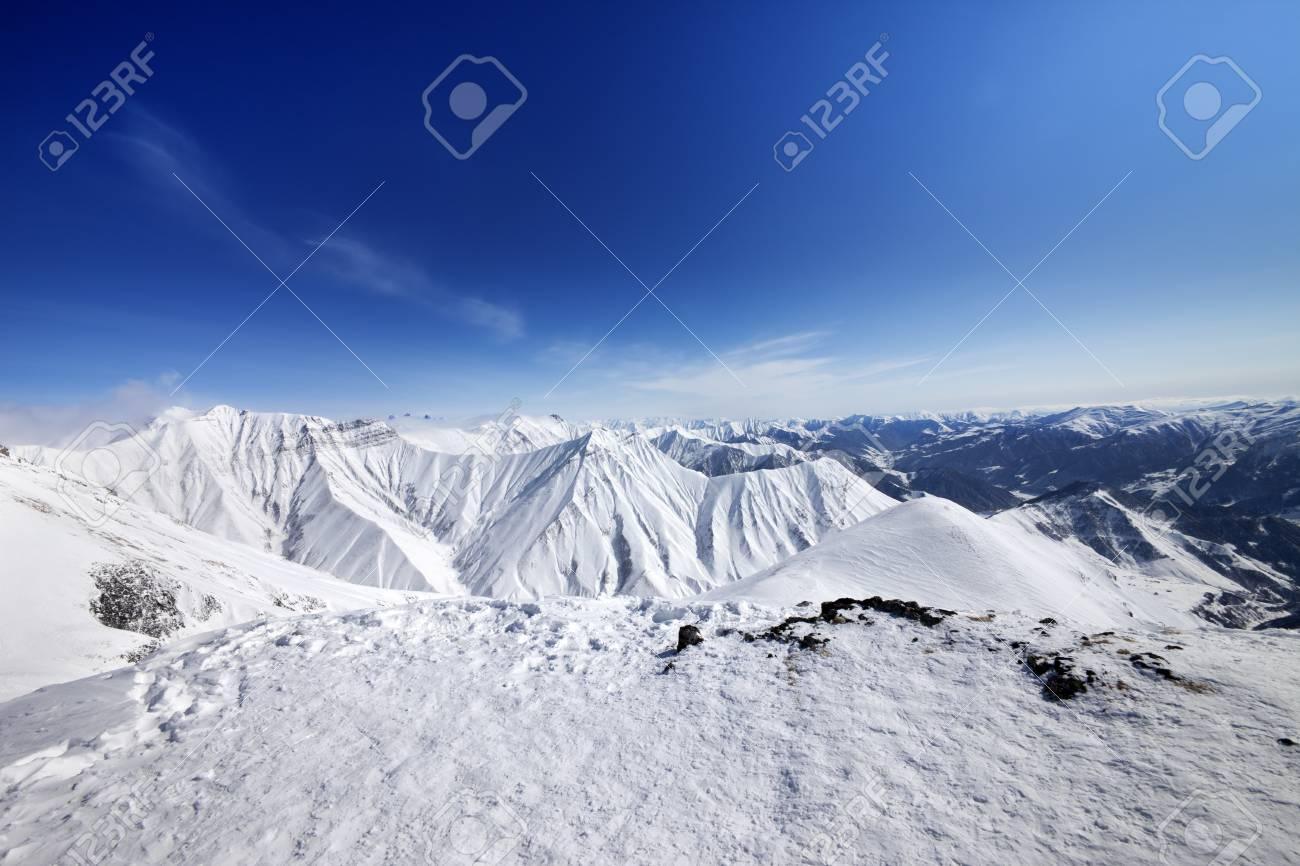 Winter Mountains And Blue Sky Caucasus Mountains Georgia Ski