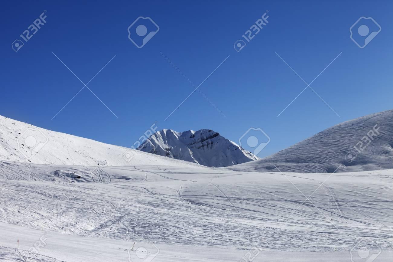 ski slope at nice sunny day. georgia, ski resort gudauri. caucasus