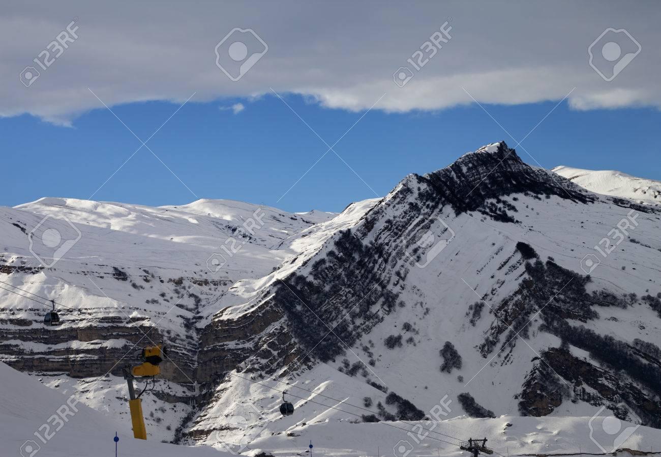 ski resort at evening. greater caucasus, mount shahdagh. qusar