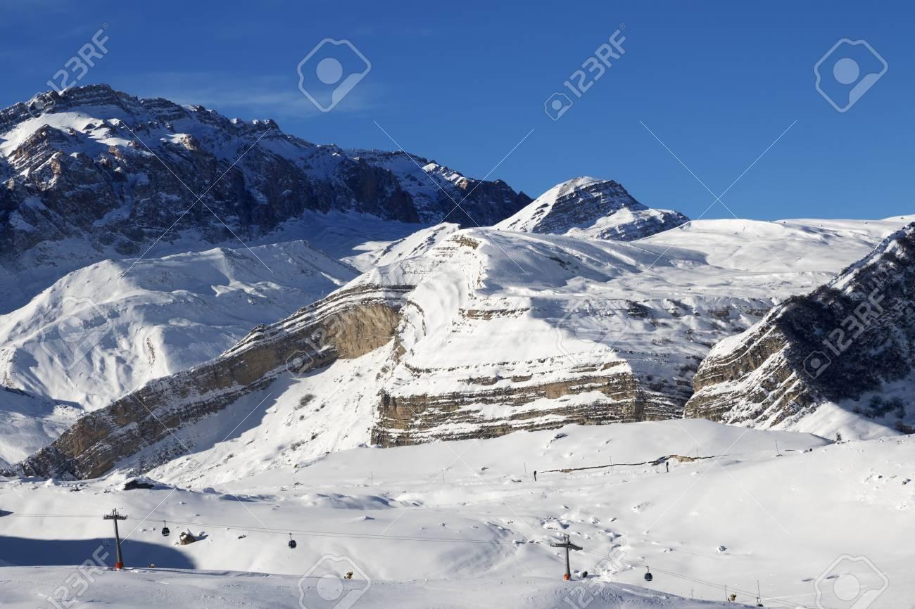 ski resort at sunny day. greater caucasus, mount shahdagh. qusar