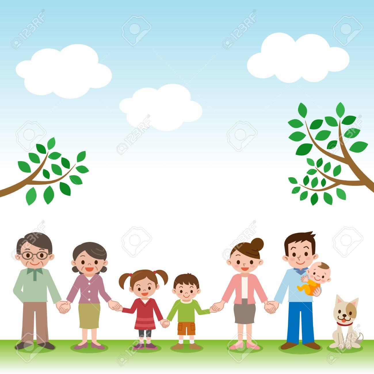 Holding Hands happy three generation family - 51986803