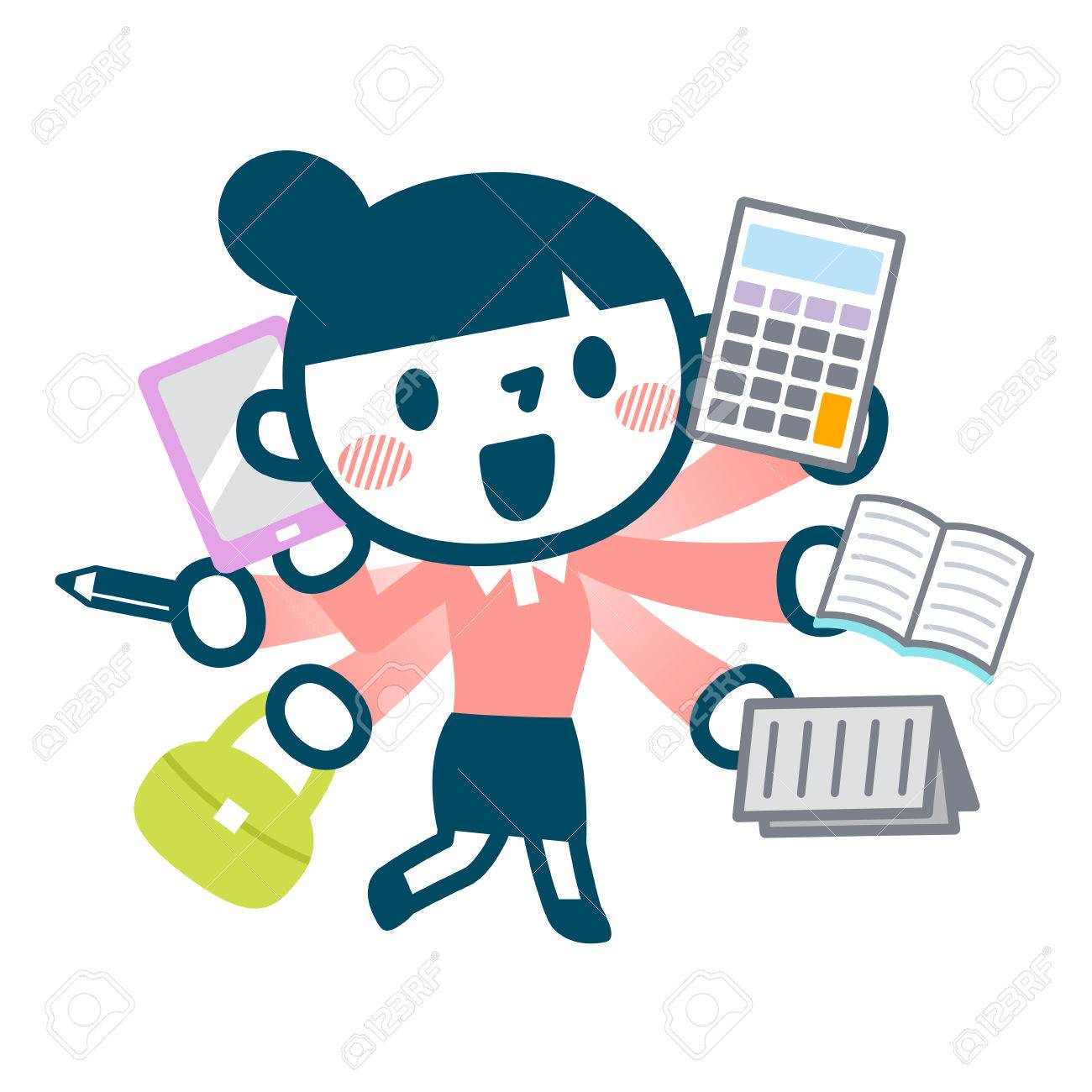 Illustration of busy career woman - 57623360