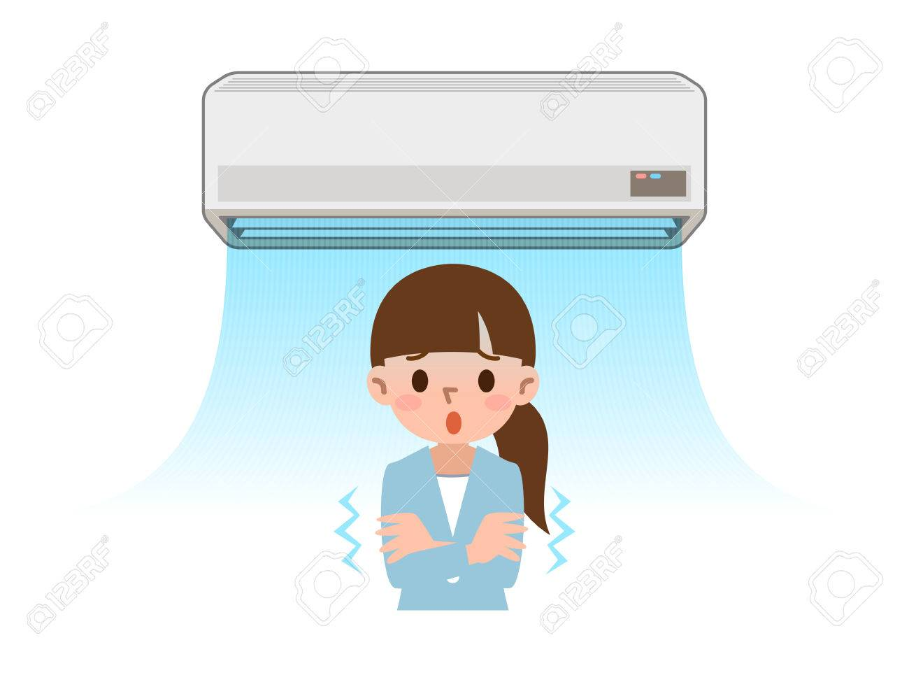 cold air conditioner clipart. cold want women to air conditioning of the wind stock vector - 58418400 conditioner clipart