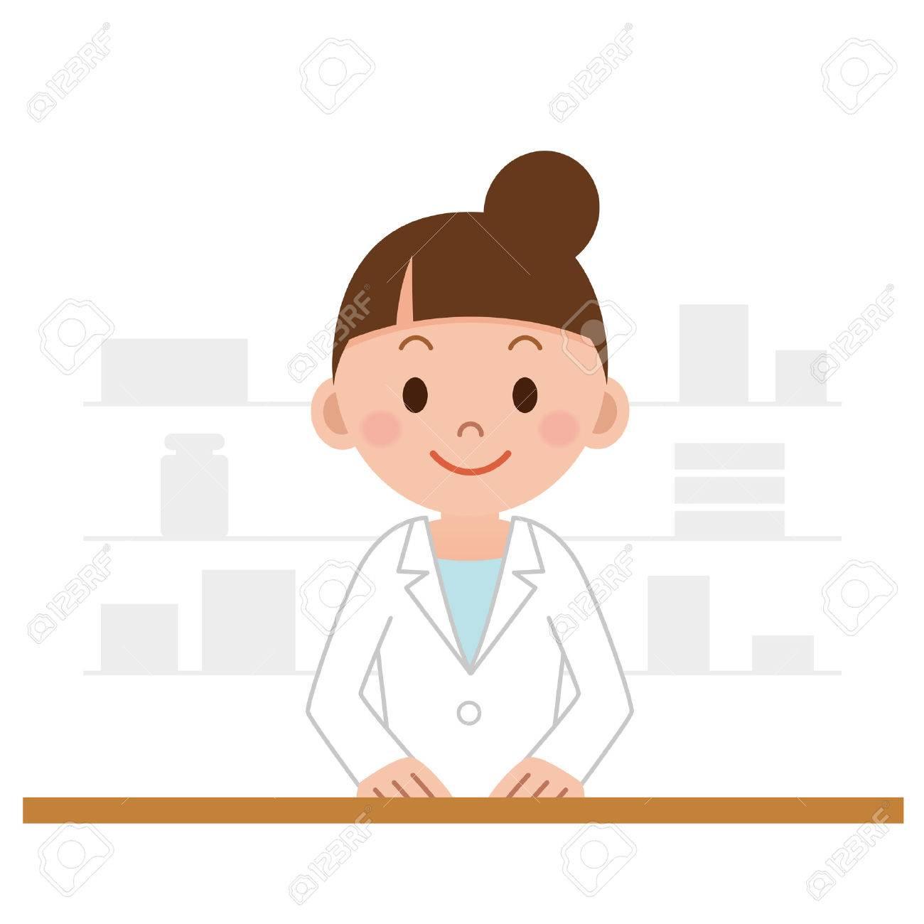 Happy cheerful pharmacist chemist woman standing - 63209607