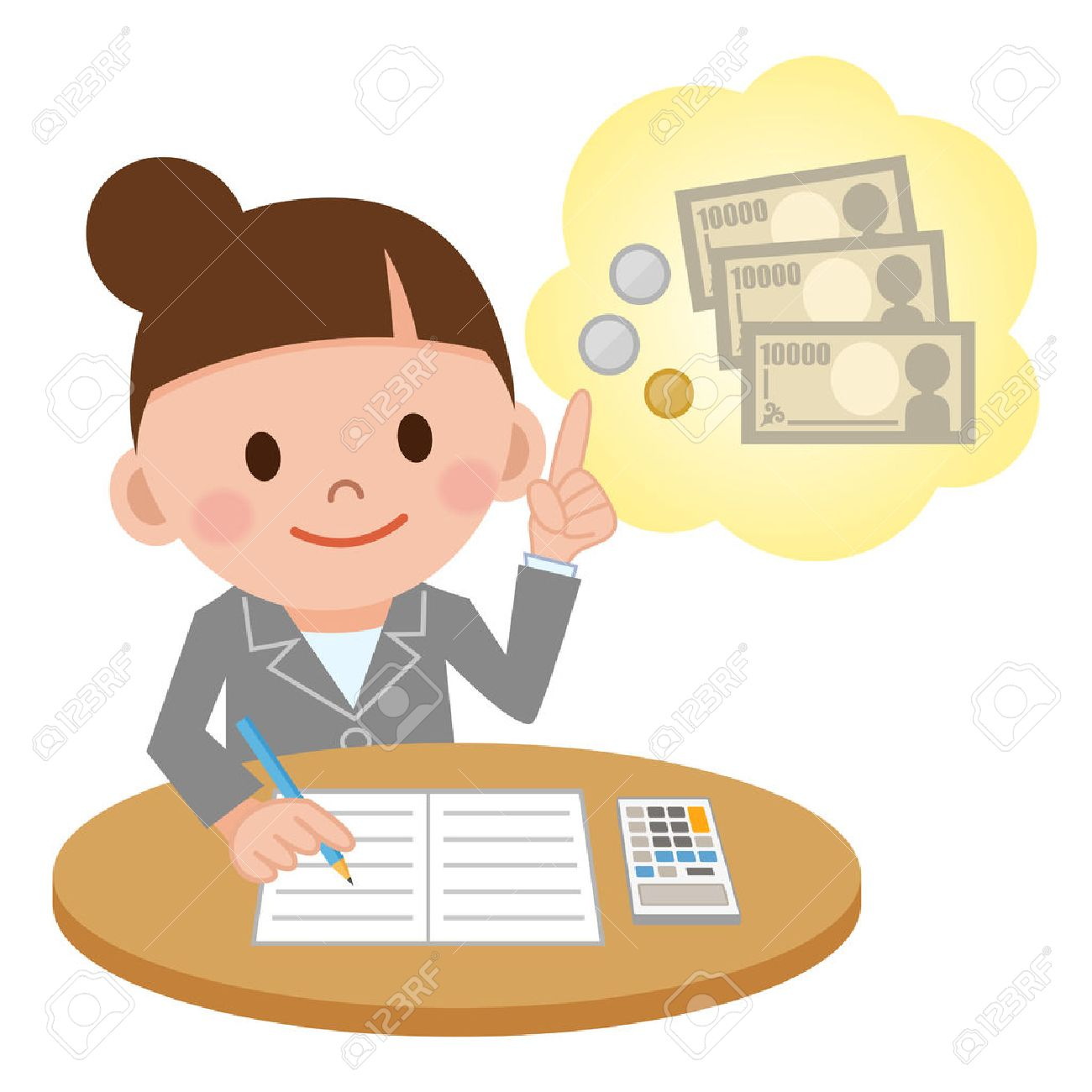 Illustration Featuring a Female Accountant Computing - 63386850