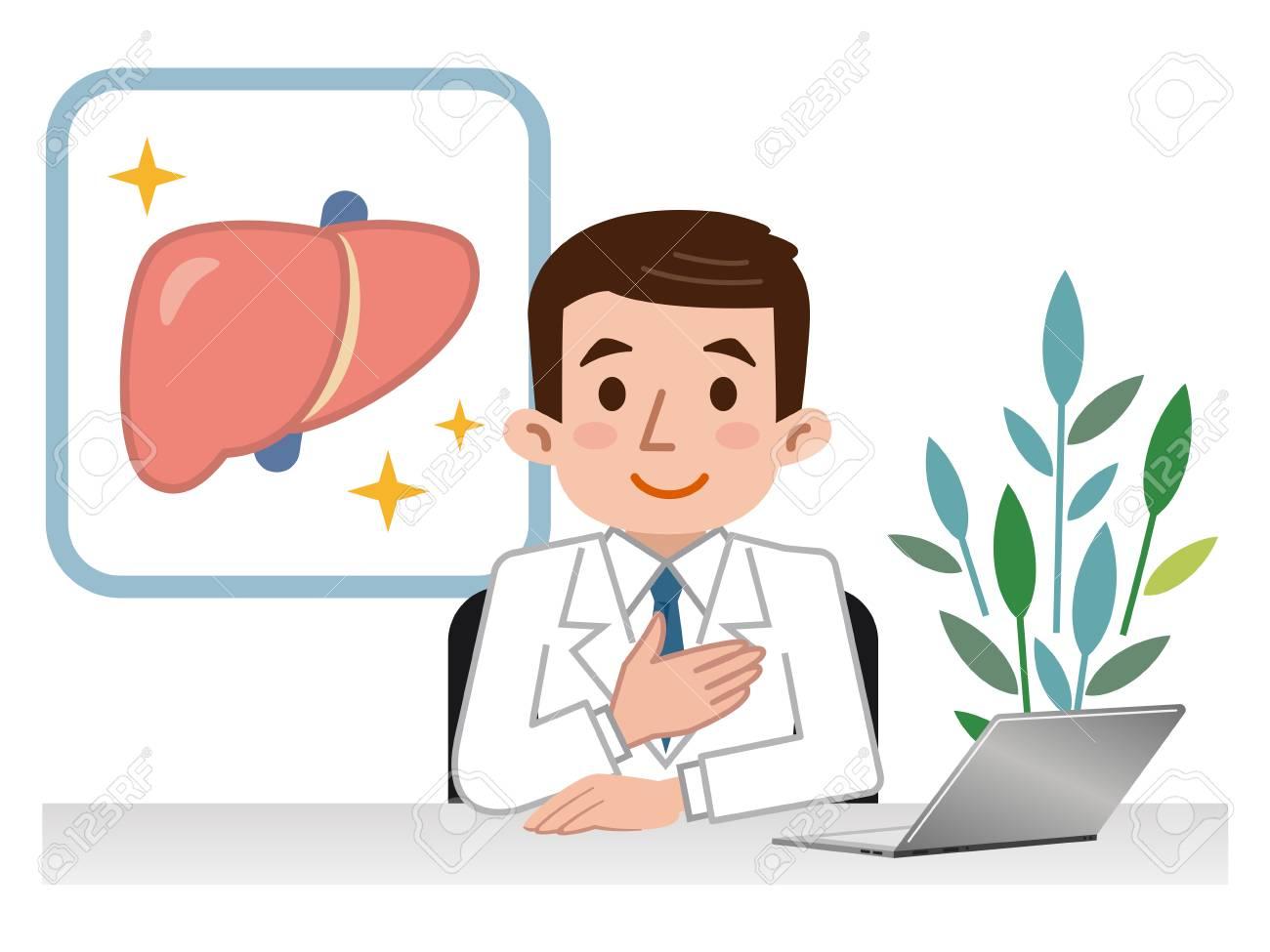 Doctor explaining the liver - 79139890