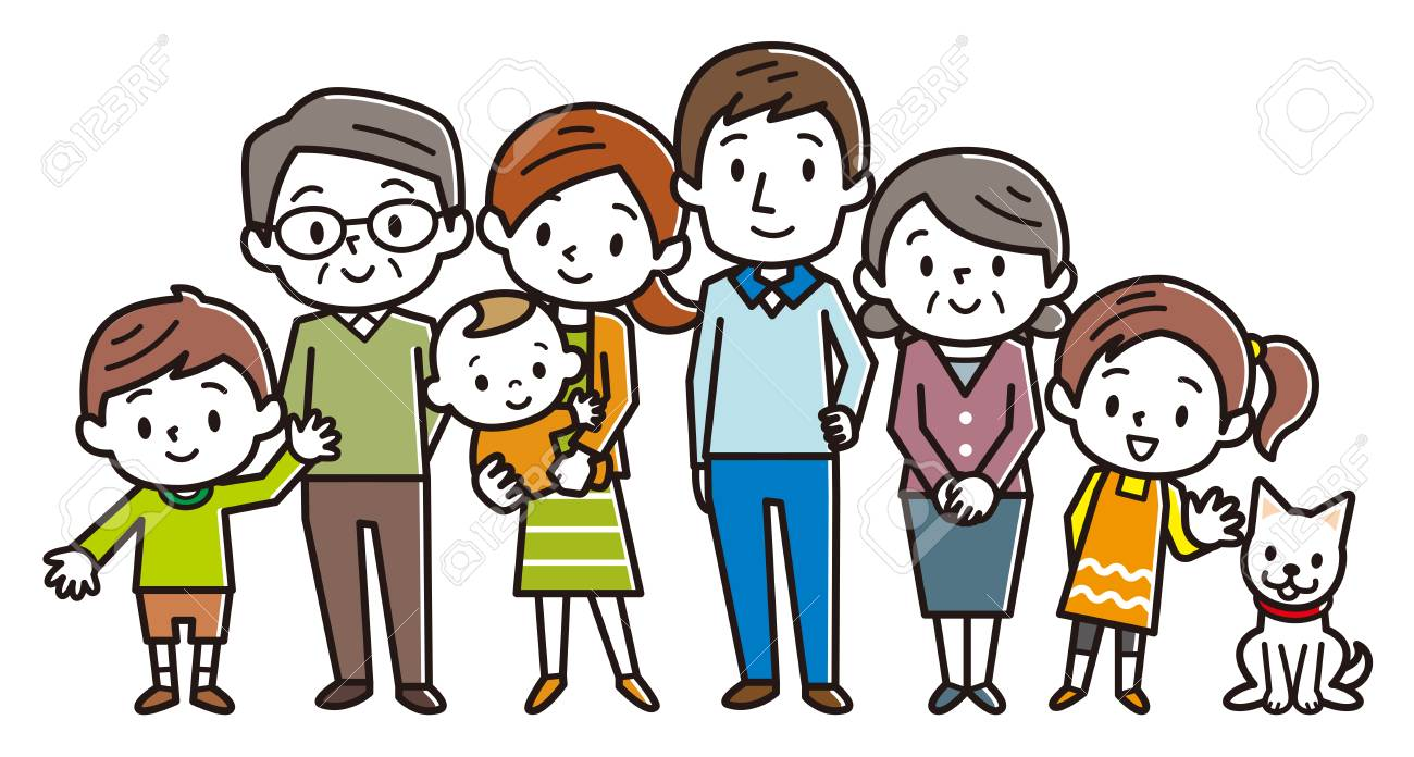 Big happy family. Vector illustration. - 109770414