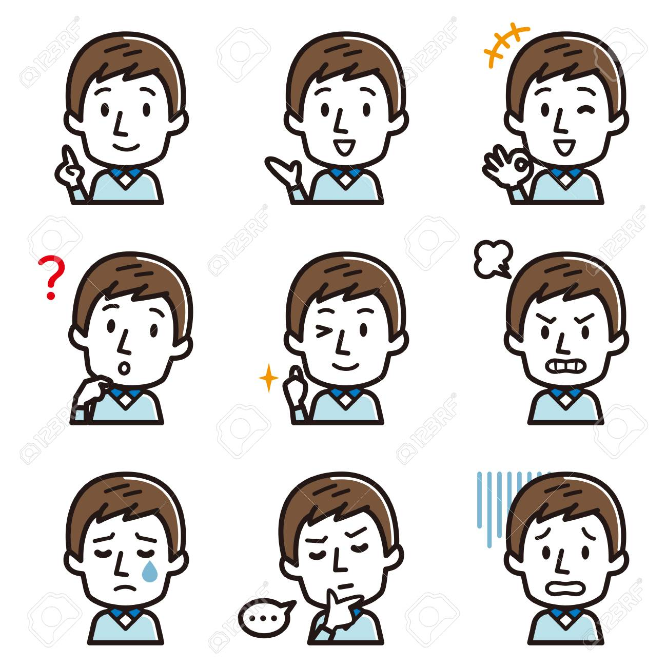Set of expression illustrations for young men - 109770435
