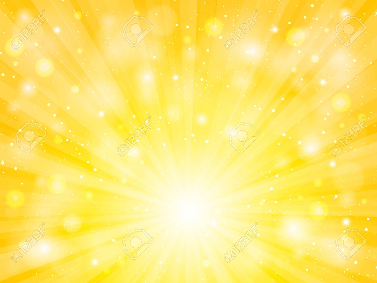 sun vector with lens flare yellow abstract background - 124227218