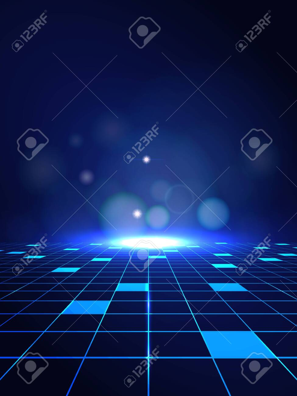 Vector Abstract high technology lines connect of future on dark blue background - 133450267