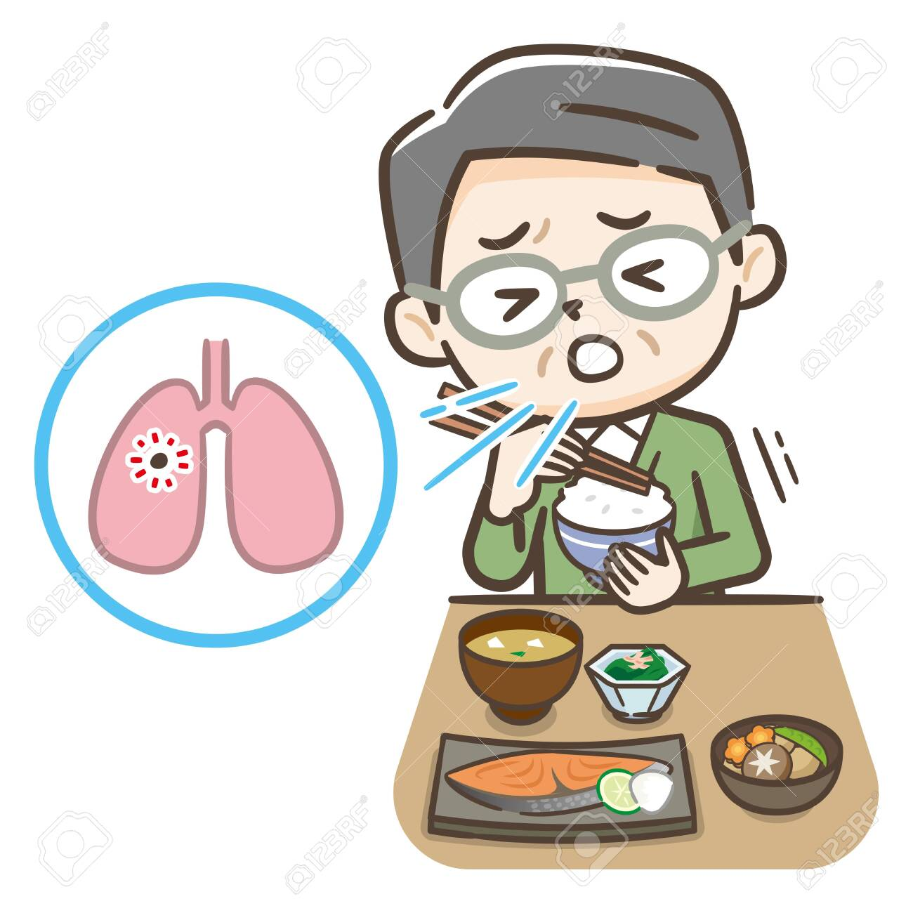 Illustration of an elderly person who aspirated during a meal. - 148945055