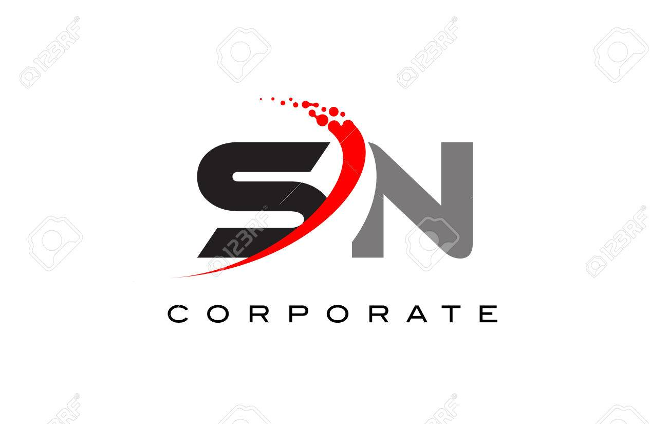 Sn Modern Letter Logo Design With Red Swoosh And Dots Royalty Free